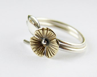 Silver stacking rings set. Flower and leaf branch rings. Delicate nature inspired jewelry. Size 6.5 SALE