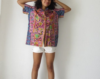Psychedelic shirt 70s vintage hippie shirt Multi colored button up flower power