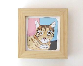 Small framed cat art - colorful cat illustration - ready to hang cat print - adorable tabby cat print - cat wall art - cat decor - wall art
