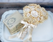 Ready to Ship! Timeless Cream Ivory Bride's Bouquet - Sola Wood Flowers, Bleached Baby's Breath, Burlap, Lace, Bow, Pearls - Rustic Wedding