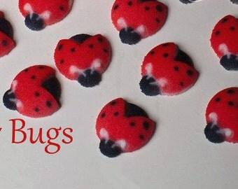 Ladybug Sugar Decorations, Summer Party ,BBQ  Ladybug Party, Ladybug Cupcake Sugar Toppers (12)
