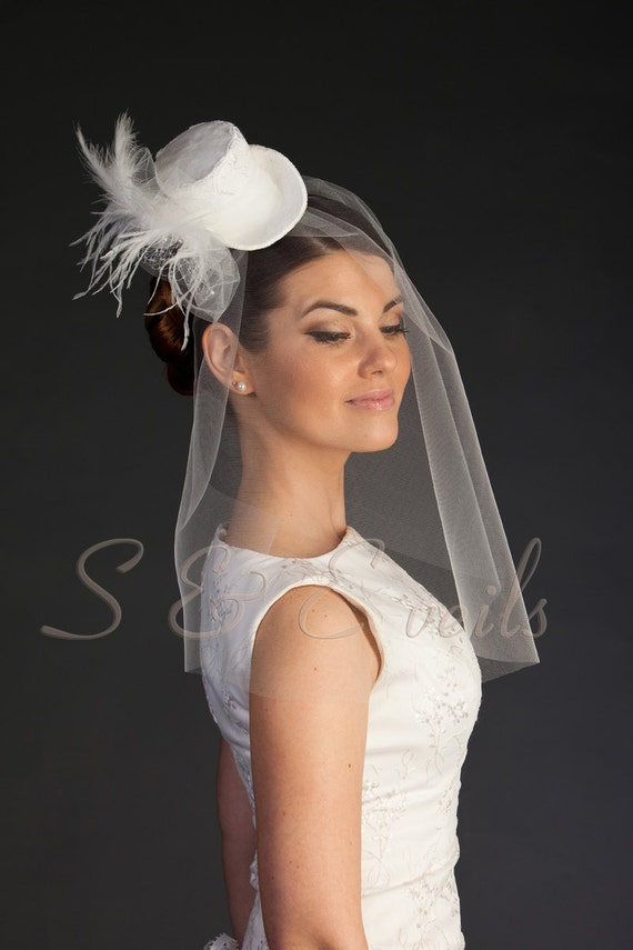 MINI-TOP HAT | wedding top hat, Russian Veil, Mad Hatter Hat, White Top Hat, Women Mini Top Hat, Women Fascinator
