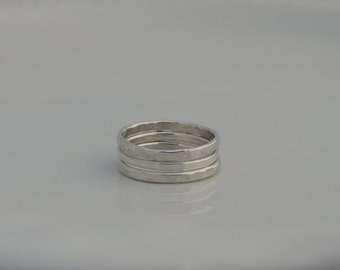 Stacking Rings - Sterling Silver - Triple Ring Set - Hammered Rings - Hand Made - Sterling Silver Stacked Rings - Organic Rings
