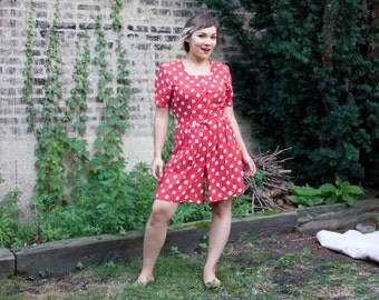 Vintage 80s Romper - Red & White Polka Dots Minnie Mouse Costume - MED