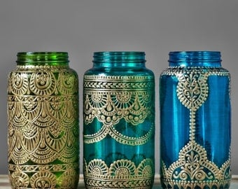 Boho Wedding Decor, Henna Wedding Mason Jar Lantern, Henna Painted Vase for Henna Wedding Decor