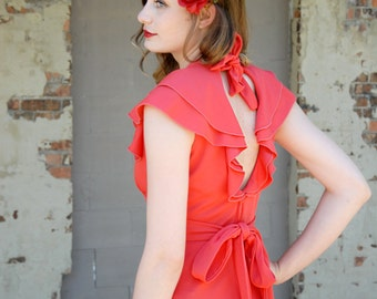 Vintage red open-back maxi dress, flutter sleeve, empire waist, boho S
