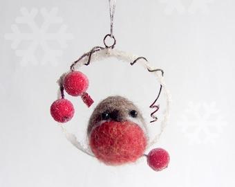 Christmas Robin , Felted bird, Needle felted Robin bird, Hanging ornament decoration