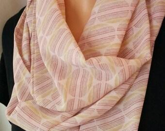 Geometric Circles Pale Pink Chiffon Infinity Fashion Scarf