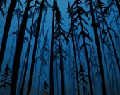 """twilight camping in the woods 11X16"""", poster-print-illustration"""