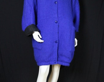 Plus size wool sweater coat 3X Vintage clothing Long jackets Mohair sweater cardigan Oversize 90s Women's knit sweaters jacket  Blue coat 2X