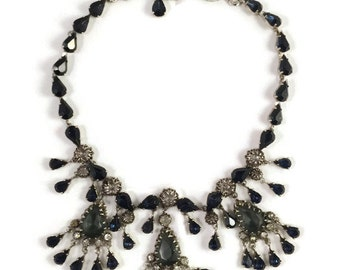 Vintage Christian Dior by Mitchel Maer Montana, Indian Sapphire, and Crystal Rhinestone Dangle Necklace
