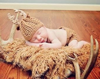 Crochet Baby Deer Antler Hat Set - Deer Photo Prop Set - Antler Newborn Set - Infant Whitetail Deer Diaper Cover Set