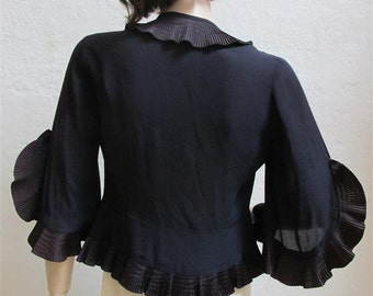 On Sale! 1940's Navy Accordion Pleats Ruffled Rayon Jacket With Open Slit Sleeves - Size Small