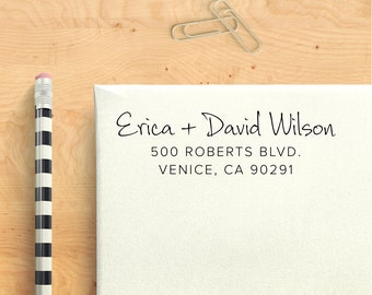 Custom Address Stamp - Thin Line Groovy - Self Inking Personalized Return Address Stamp