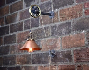 Copper Shade - Industrial Wall Sconce - Pendant Edison - Hanging Lamp - Edison Bulb - Wall Light