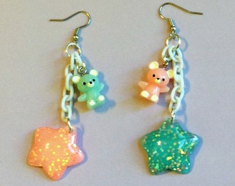 Lullaby - Pastel Pink and Mint Teddy Bear and Glitter Star Earrings