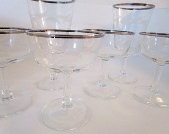 French Wine Glasses With White Leaf Pattern - 6