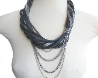 Metallic Black Leather Statement Necklace, Multistrand Leather and Chain Necklace, Rock n' Roll necklace, Leather Jewelry