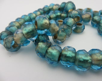 BACK in STOCK!!  Shimmering Capri and Aqua ROLLER Beads with Golden Shimmer ( Choose 2 or 6 Beads )...8x12mm large 5mm hole