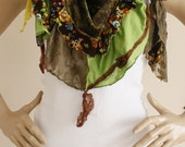 Colorful Gpsy Shawl Scarf  Boho Scarf with Lace Details Spring Scarf Fashion Woman Accessories  Mother's Day Gift DIDUCI