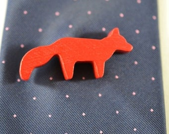 Orange Fox - Brooch or Tie Pin - Wooden Toys - Upcycled - Repurposed