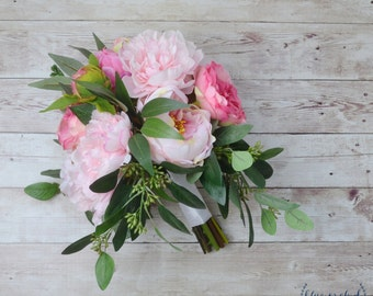 pink peony bouquet, eucalyptus bouquet, hot pink peony bouquet, hot pink bouquet, bright pink peonies, blush pink bouquet, tropical bouquet