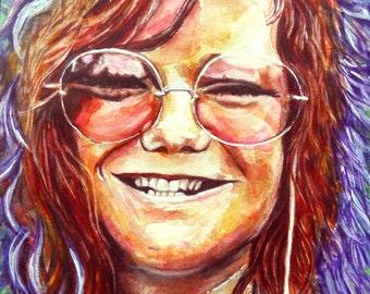 "ORIGINAL watercolor portrait, ""Joplin"""