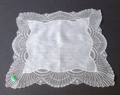 Lovely Lace Wedding Hanky . unused with sticker . Vintage Tambour Lace Handkerchief . Made in Austria . White Lace Bride's Hanky