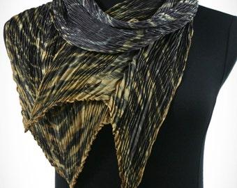 Gray Pleated Silk Shibori Scarf Hand Dyed Luxury Wrap