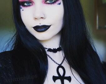 Gothic black ankh necklace.