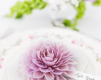 Lavender Wooden Flower Place Cards, Wooden Flower Place Cards, Rustic Wedding, Wedding Escort Cards