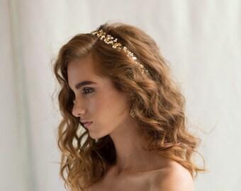 Gold Bridal Hair Accessory Wedding Headpiece, Swarovski Crystal Vine Pearl Golden Shadow Wire Wrapped Headband Boho, Camilla Christine ANIA
