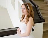 Bridal Hair Wrap, Rhinestone Pearl Headband, Embroidered Wedding Hairband, Bridal Lace Headband, Bridal Headpiece, Hair Jewelry, ReddApple