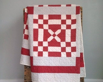 Antique Quilt, Red and White Antique Quilt, Vintage Quilt, Handstitched Quilt, Cross and Nine Patch Pattern