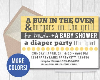 couples baby shower invitation coed baby shower invite diaper party bun