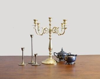 Vintage Candelabra Gold Baldwin Candle Holder