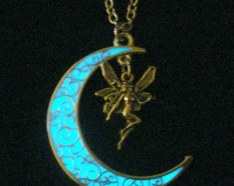 Moon And Fairy Necklace Glow In The Dark Moon Fairy Jewelry Glowing Fairy And Moon Necklace Antique Silver (glows aqua blue)