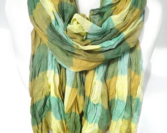 Plaid Cotton Unisex Scarf. Green Scarf. Crinkle Fringed Scarf. Gift for Him. Soft Scarf. Gift for her. 25x74in (65x190cm) Ready2Ship