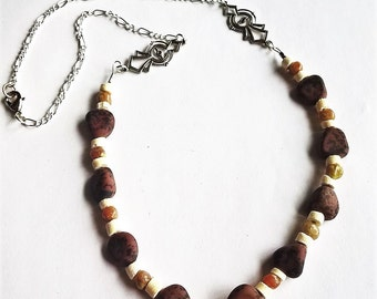 "21"" Necklace: Natural Obsidian, Coconut Shell Beads, Agate"