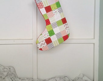 Holiday Stocking, Christmas Decor, Patchwork, Presents, Red Green Gray and White Quilted Cotton Lined Christmas Ornament
