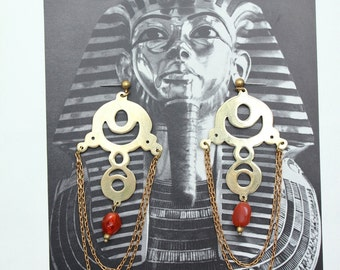 Irya - brass chandelier earrings with red agate - one of a kind statement earrings