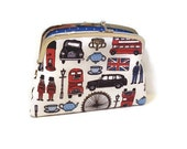 London coin purse with 2 compartment Metal Frame wallet and blue polka dots, jubilee, olympics