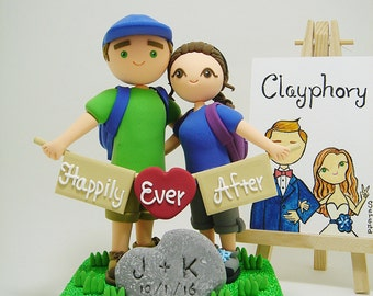 hiking theme custom wedding cake topper