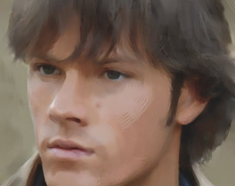 A4 'Fan Art' Print of Sam Winchester Character from Supernatural TV Series - Played by Actor Jared Padalecki