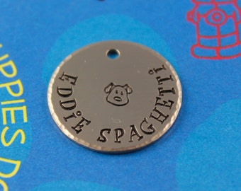 Unique Dog Tag - Hand stamped Custom Pet ID Tag - Cute Personalized Tag