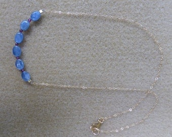 Delicate & Sweet Necklace with Kyanite Stones  and Garnets