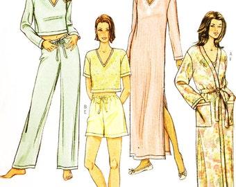 Butterick 4037 Misses' Sleepwear Wardrobe Sewing Pattern Robe, Gown Etc.