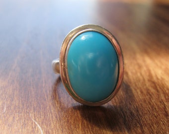 Sterling Silver and Turquoise Ring, Heavy, Oval Natural Stone, 925, Size 8, Simple Clean Modern Design