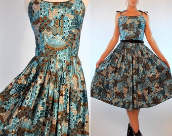 Vintage 50s Novelty Print Circle Skirt Pleated Party Dress. Strappy Turquoise Blue, Black and Gold Art Deco Cocktail Shift. Extra Small