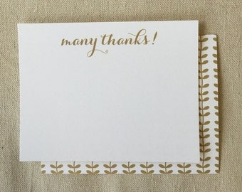 FLN506 - Many Thanks Flat Note - set of 10 with WHITE envelope